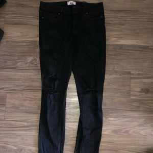 Paige black distressed jeans size 27